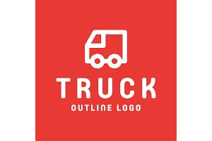 Truck trending an outline line quality vector style flat art