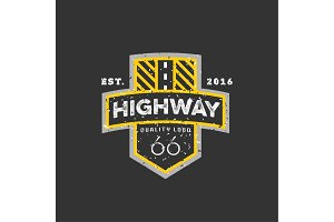 Road sign, Highway 66, high-quality brand-name brand logo vector graphics, illustration flat.