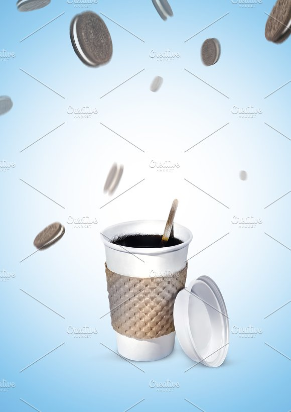 Plastic Cup Of Coffee Next To The Cookies That Flies Upside Photo Composition Poster Illustrations On A Blue Gradient Background