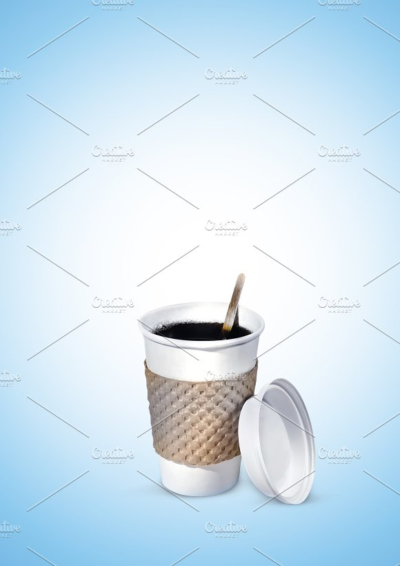 Plastic Cup Of Coffee Or Tea On A Gradient Blue Background Picture Composition Under The Banner Illustrations