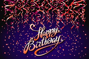 Happy Birthday card vector confetti