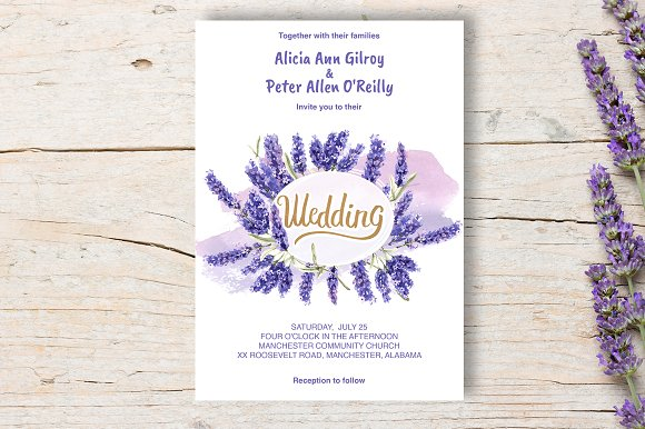 wedding invitation lavender diy invitation templates creative market