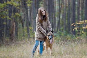 Blonde hair female playing with her pet - german shepherd - walking on a autumn forest