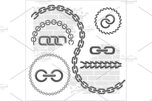 Chains Set Icons Parts Circles Of Chains