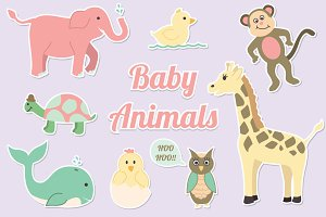 Baby Animals Clipart Vector Set