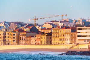 Beachfront city district of Porto