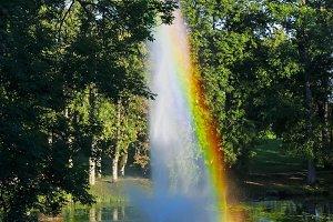 Rainbow in high fountain