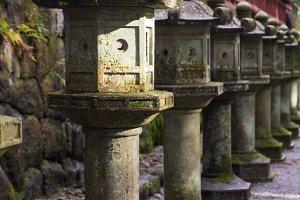Ancient Japanese stone lanterns