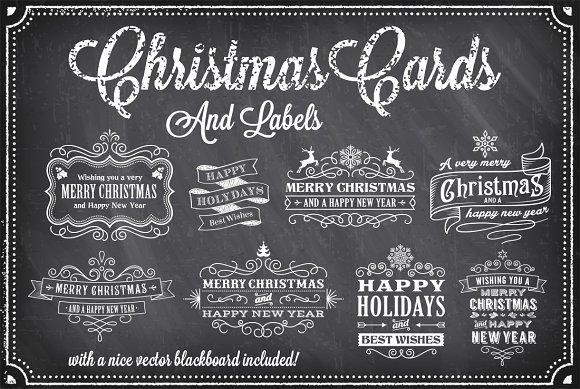 christmas vector chalkboard labels illustrations