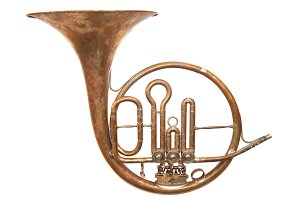 Old vintage horn on white.