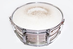 Snare drum on white background.