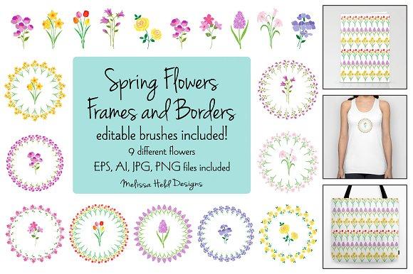 Spring Flower Frames Borders