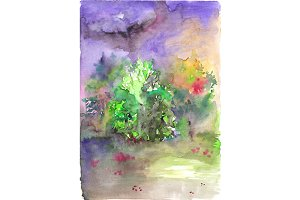 Watercolor cloudy glade landscape