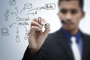 Social Media Diagram Writing Hand
