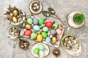 Easter eggs. Table decoration