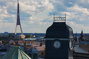 Roofs and towers of Riga