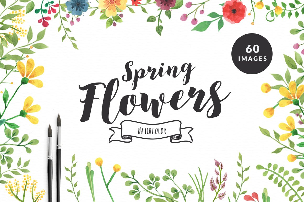 Spring Flowers Watercolor Set Illustrations Creative Market