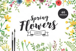 Spring Flowers - Watercolor Set