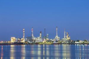 Petroleum refinery at night