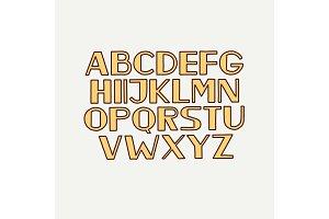 Retro typeface font alphabet type uppercase letters.