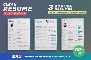 Clean Resume - Bundle Edition Vol. 2