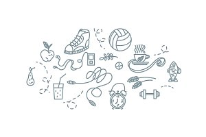 Hand drawn sport equipment icons vector illustration.
