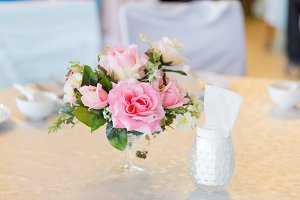 Flower vases in the wedding