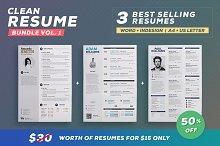 Clean Resume - Bundle Edition Vol.1