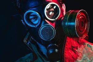 grunge portrait man in gas mask