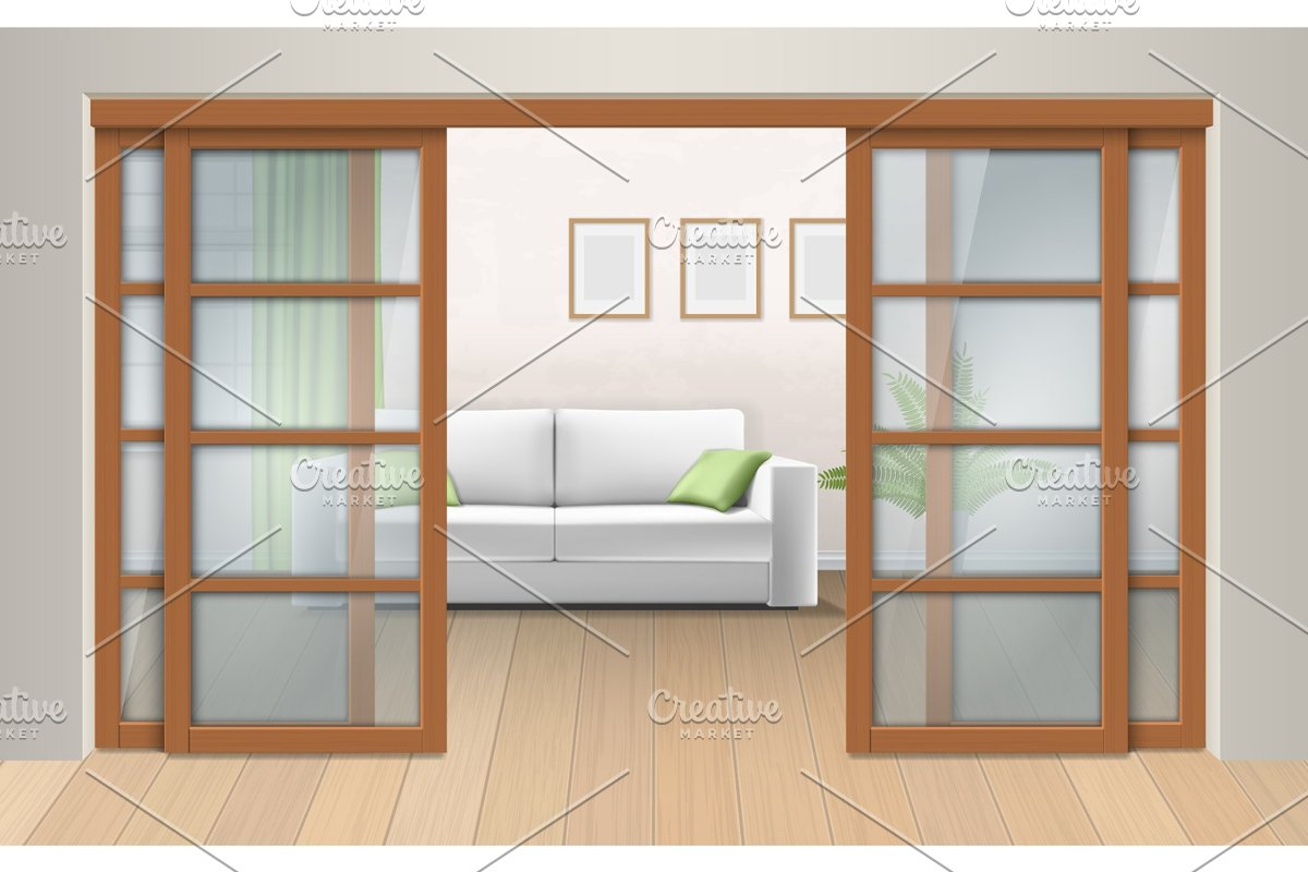 Living room interior with sliding doors.