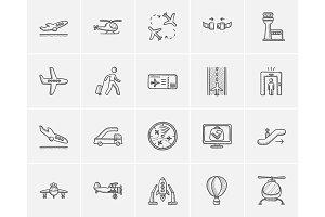 Air transport sketch icon set.