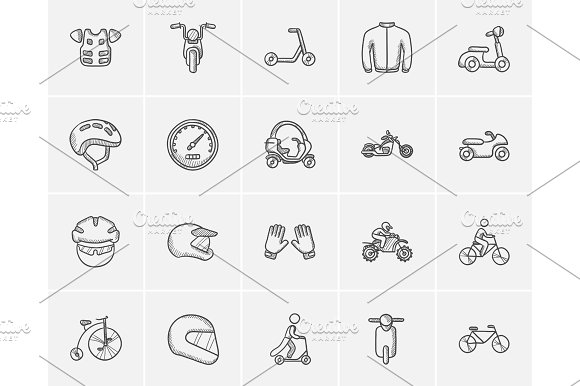 Transportation Sketch Icon Set