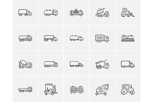 Transportation sketch icon set.