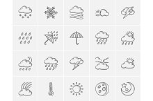 Weather sketch icon set.