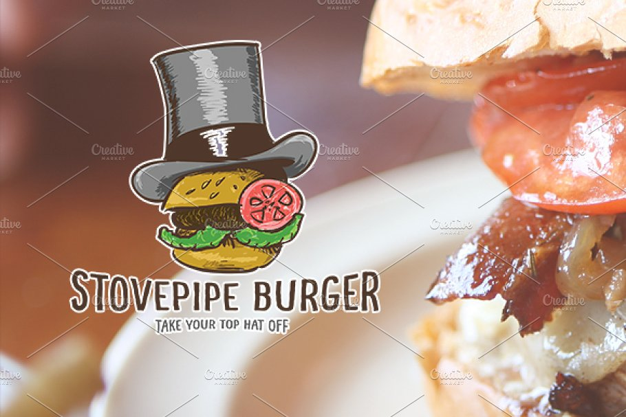 Stove Pipe Burger in Logo Templates - product preview 8