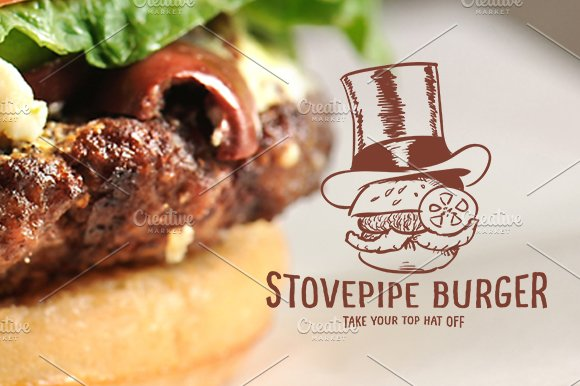 Stove Pipe Burger in Logo Templates - product preview 1