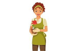 Woman gardener. Vector illustration