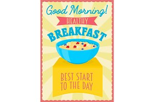 Poster or flyer design concept with healthy breakfast.