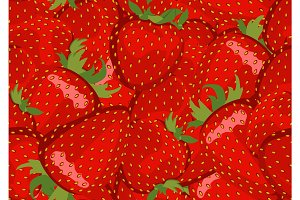 Seamless pattern with many strawberry