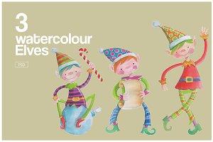 3 Watercolour Elves