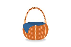 Illustration of empty wicker basket. Isolated on white