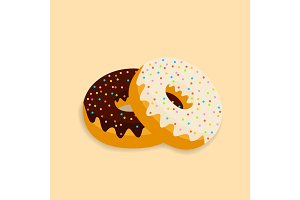 Delicious donuts vector isolated on a light background
