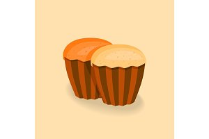 Illustration of cupcakes without the cream.