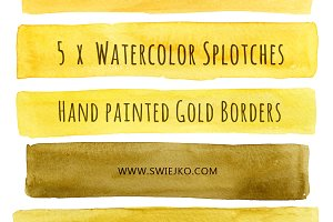 Watercolor Stripes, Gold