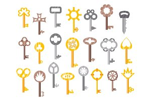 Vintage or antique door key isolated access household tool retro metal security house protection and decorative skeleton ornate secret sign vector illustration.