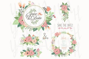 Floral Bouquet Wreath Frame Elements