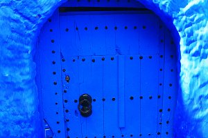 Typical Door in Chefchaouen,Morocco