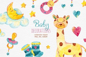 Baby Decorations. Watercolor clipart