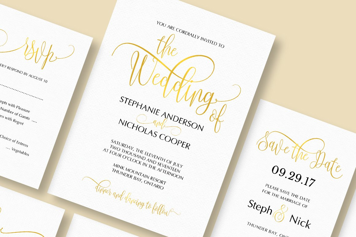 Elegant Wedding Invitation Templates: Gold Elegant Wedding Invitation