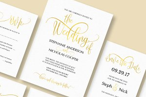 Gold elegant wedding invitation